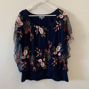 JM collection blue embroidered floral blouse